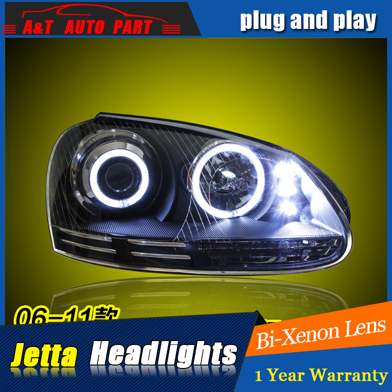 Car Styling For VW jetta headlight assembly 2006-12 For jetta LED head lamp Angel eye led light Bi-Xenon h7 with hid kit 2pcs. hireno headlamp for mercedes benz w163 ml320 ml280 ml350 ml430 headlight assembly led drl angel lens double beam hid xenon 2pcs