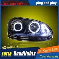 Car Styling For VW jetta headlight assembly 2006 12 For jetta LED head lamp Angel eye led light Bi Xenon h7 with hid kit 2pcs.