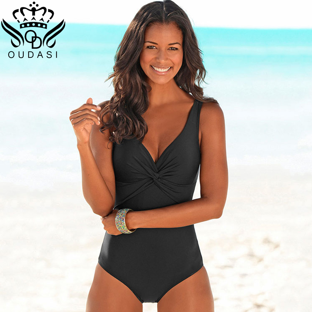 One Piece Swimsuit 2018 New Plus Size Simple Swimwear Women Solid Swimwear Vintage Retro Bathing Suits women ruffle Monokini Купальник