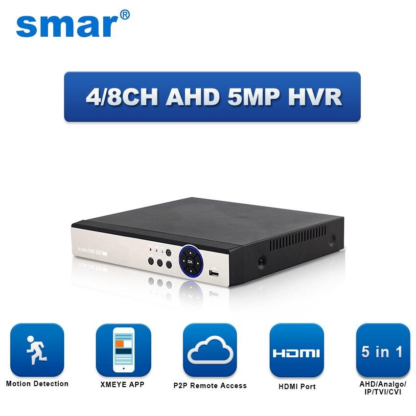 5 в 1 4CH 8CH видеонаблюдения видеорегистратор AHD 5MP 4MP 3MP 1080 P H.264 Гибридный видео Регистраторы для AHD TVI CVI аналоговый IP Камера Onvif IP 5MP