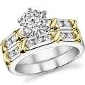 LASAMERO Х-Фактор Свадебный Комплект Два Тона Позолоченные Центр 1ct Круглый Имитация Бриллиантовое Обручальное Кольцо Серебро 925 Обручальное Набор