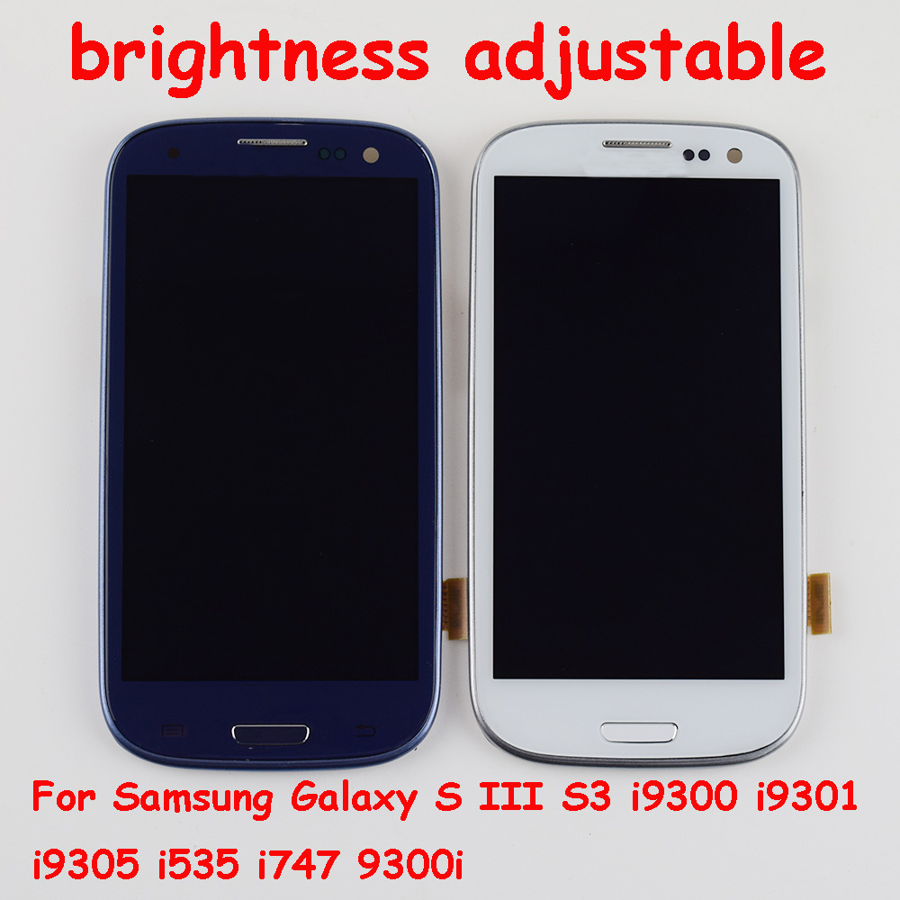 Per Samsung Galaxy S III S3 LCD i9300 i9301 Display i9305 i535 i747 9300i Schermo LCD + Touch Screen Digitizer assembly + Frame