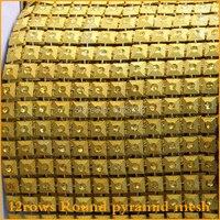 2014 Promotion Free Shipping Gold Plastic Rhinestone Mesh Trimming Sewing Trim 5yards Lot 12rows Wedding Dress