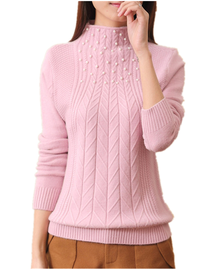 2018 Autumn Winter Cotton Blended thickening Knitted Sweater Women beading jumper pull femme Turtleneck Sweaters And Pullovers