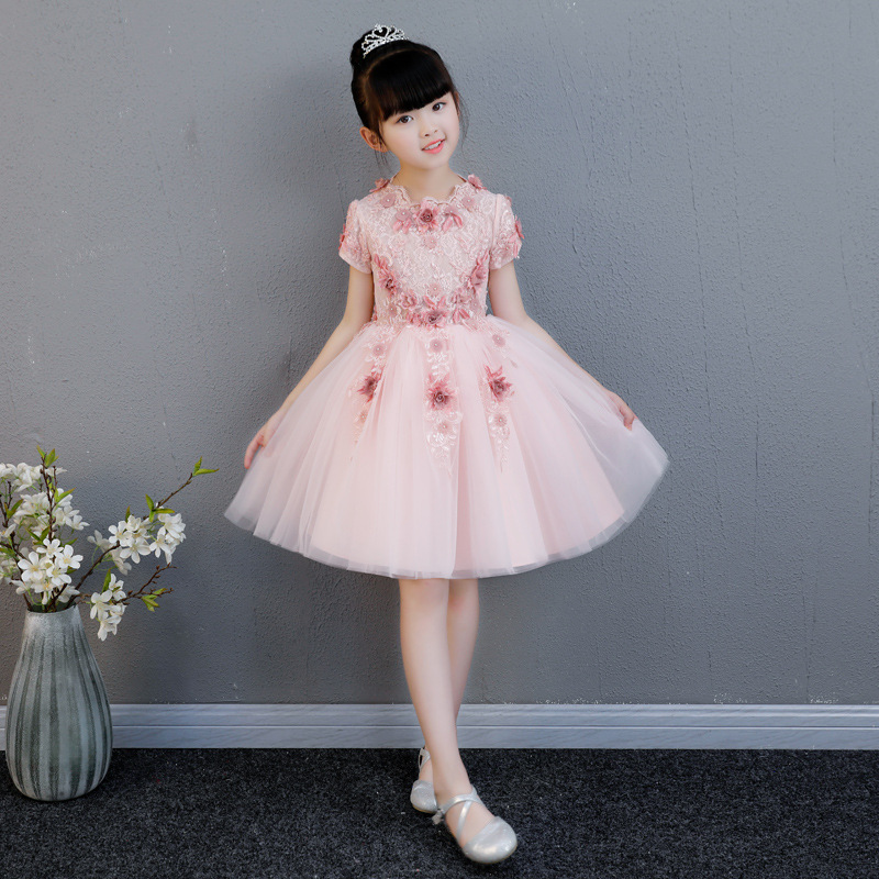 Toddler Kids Baby Girls Lace Dress Cute Princess Girls Dresses Kids Birthday Party Gowns Short Sleeve Flower Girl Dress AA273 2018 lovely baby infant toddler little girls birthday dress long sleeve lace tulle flower girl dress tutu ball gowns