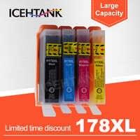 ICEHTANK Compatível Substituição Do Cartucho De Tinta Para HP 178 XL Para Photosmart 5510 5515 6510 7510 B109a HP178 B110a 3070a Impressora