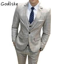 GODLIKE Весной 2018 года мужской тонкий и модный деловой костюм с тремя пакетами, хлопковый многоцветный проверенный костюм.