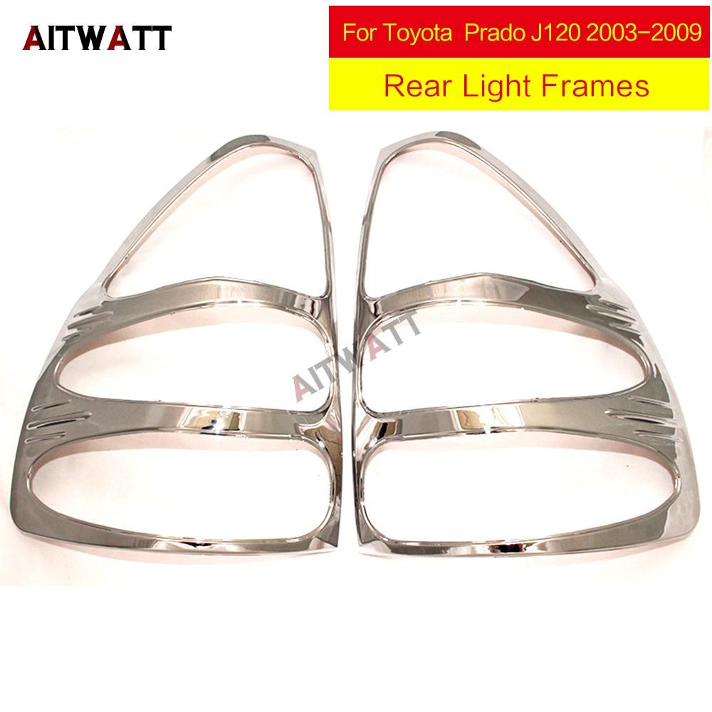 AITWATT autocollants de voiture pour Toyota Land Cruiser Prado J120 2003-2009 ABS Chrome feux arrière cadres de feux arrière garnitures 2 pièces