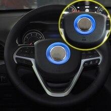 1 шт. Алюминий синий автомобиль центре рулевого колеса Крышка отделка кольцо Стайлинг Стикеры подходит для Jeep Grand Cherokee 2014 -2016