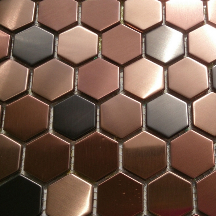 Purple Color Hexagon Stainless Steel Metal Mosaic Tile For