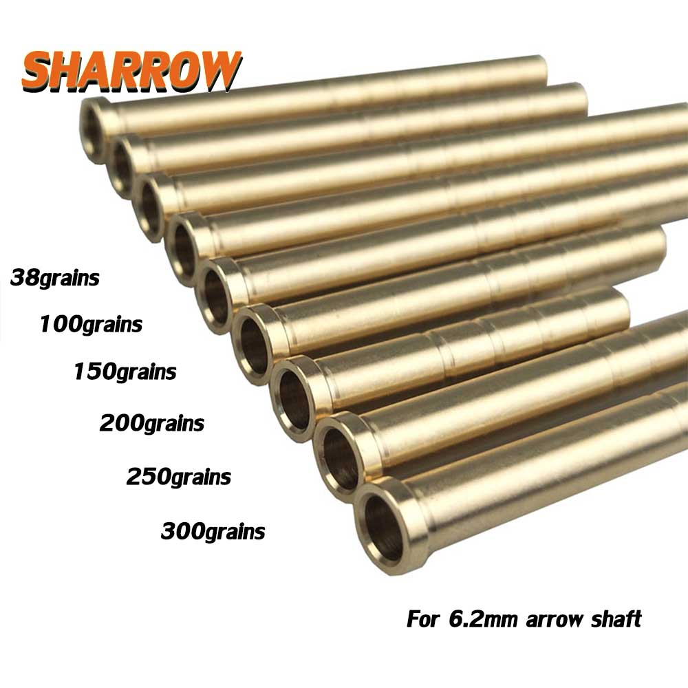 12 Pcs Free Shipping Archery Arrow Insert Copper 38/50/100/150/200/250/300 6.2mm Carbon Rod OD7.6mm Bob-Weight Broadhead