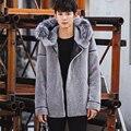 CR102 Homens inverno lã quente casaco de pele real de pele de um casacos de lã genuine casacos de pele com grande pele de raposa naturais colarinho