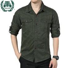 ZHAN DI JI PU Брендовая одежда мужская рубашка с длинными рукавами зеленый и хаки цвет плюс размер M-4XL повседневные рубашки-карго мужчины 72