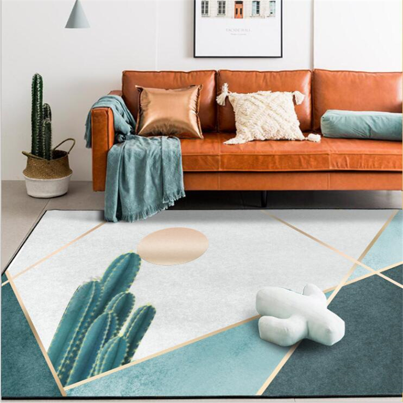 AOVOLL Carpet And Rugs For Home Living Room Modern Fashion Nordic Cactus Green Gold Line Door Mat Bedroom Living Room Area Rugs