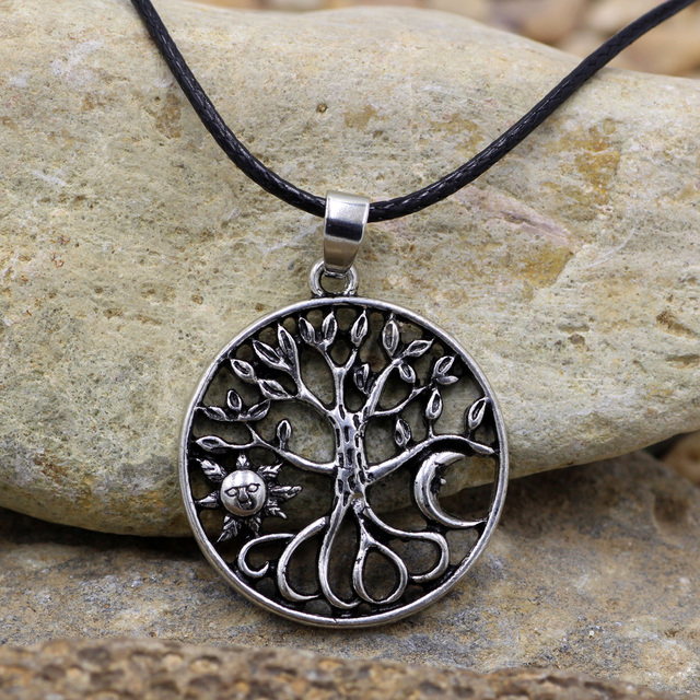 US $6 4 |Tree of life necklace alloy tree pendant sun moon round silver  charm silver necklace symbolic jewelry human nature-in Pendant Necklaces  from