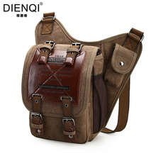 DIENQI Brand Military Canvas Bag Men Vintage Travel Bolsa Masculina Men's Crossbody Bags Men Messenger Bags Leather Hasp Large