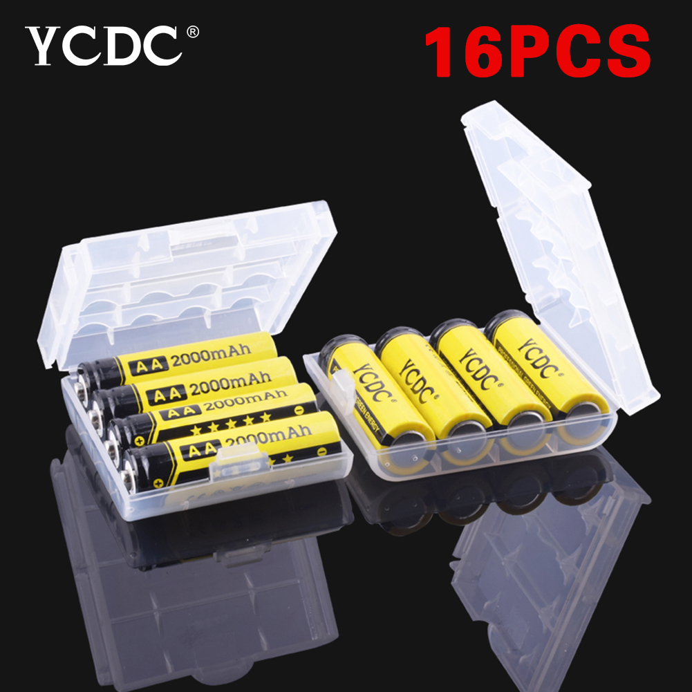 New 16pcs/lot aa batteries 2000mah 1.2V alkaline rechargeable battery with Battery Case Quality batery for MP3 Toy cameras