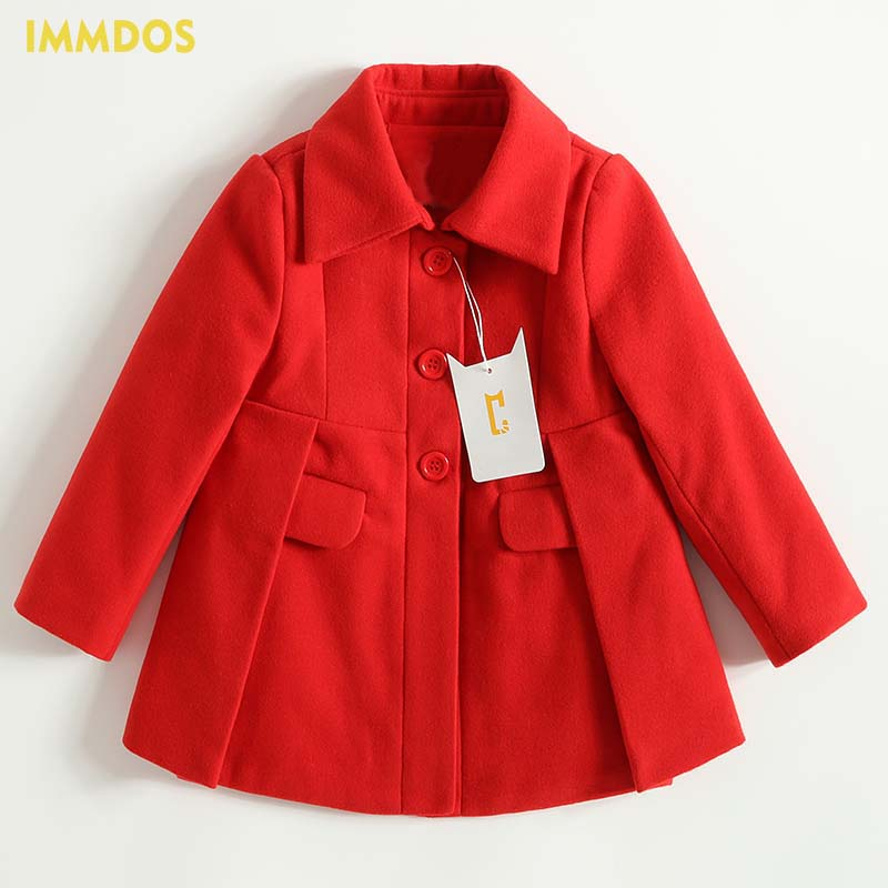 IMMDOS Children Coat For Girl Winter Wool Outerwear Kids Long Sleeve Hooded Warm Baby Clothing Girls Solid Fashion Jacket