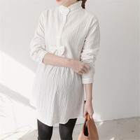 Korean Fashion Style High Quality White Shirts Women Spring Long Sleeve Shirts Maternity Clothes Casual Camisetas