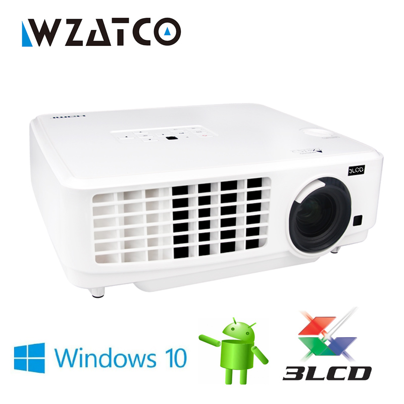 WZATCO Windows 10 Smart WIFI Bluetooth Projector Beamer 3LCD Projectors 4000Lumens 1080P full hd for home theater proyector wzatco short throw projector daylight hdmi home theater 1080p full hd 3d dlp projector proyector beamer for church hall hotel