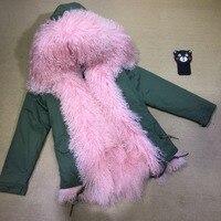 Meifng женский мех ягненка загар короткая кожа куртка 68 см Монголия овечий мех натуральный мех пальто