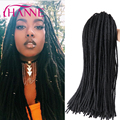 Crochet Braids 60g per pack synthetic soft dreadlocks braids black pure color pre crochet dreadlock extension on sale HANNE Hair