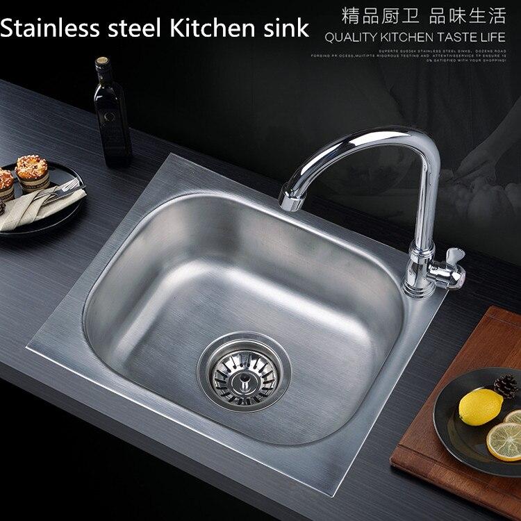 Évier de cuisine moderne en acier inoxydable 304 avec robinet de lavabo, bol unique, accessoires de cuisine, monté sur le pont, avec vidéo d'installation