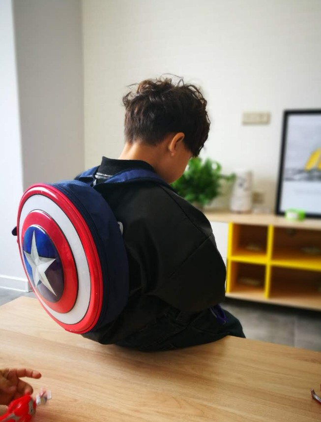 The Avengers Captain America Hard Shield Backpack Bag Student Bag Children's Gift Agents Of S.H.I.E.L.D. For Boys And Girls Use
