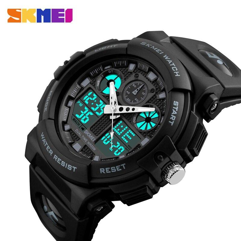 SKMEI Для мужчин спортивные часы цифровой двойной время хронограф 50 м водонепроницаемый неделю Дисплей Наручные часы Relogio Masculino 1270