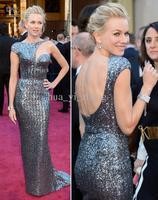 Free Shipping 2013 Vestidos Formales Long Naomi Watts 85th Oscar Celebrity Dresses Red Carpet Gowns Metal
