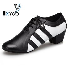 HXYOO 2017 New Model Men Latin Dance Shoes  Ballroom Shoes Salsa Tango Zebra 2.5 or 4 cm heel L176