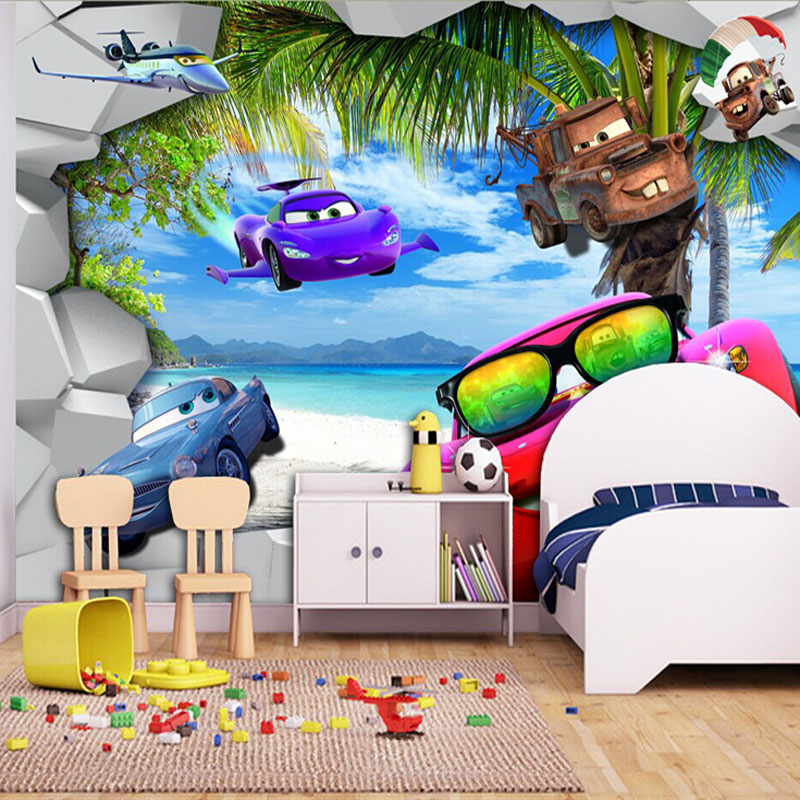 Buy cartoon wallpaper 3d cars wall mural for Childrens mural wallpaper