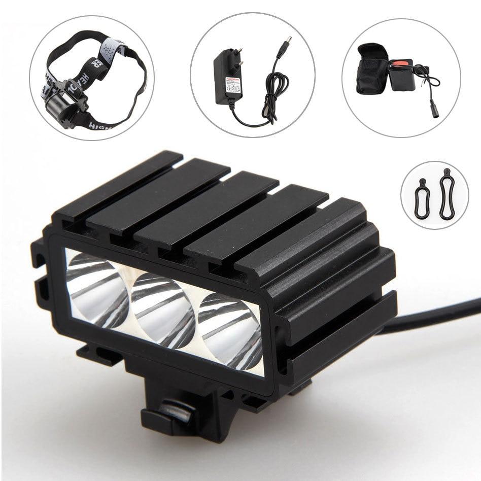 ФОТО 6000Lumens 3XCREE XM-L T6 LED Cycling Bicycle Front Light Head Lamp LED Display 2 MODE 12000mAh Battery Pack+ Headband