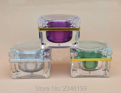30G 30ML Acrylic Cream Jar, Purple Color Green Color Silver Color Square Cosmetics Eye Cream Sample Packing Container, 10pcs/lot high quality 5g 10g 30g acrylic cream jar purple pink color empty cosmetic packing container goblet shape sample tins