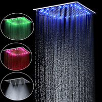 Popular 20'' Stainless Steel Led Rain And Mist Shower Head Ceiling Mounted Massage Spray With Adjustable Shower Arms