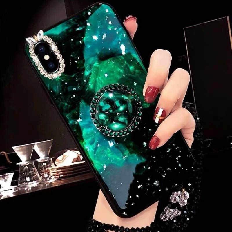 Personalizado gradiente cor de luxo strass suporte caso telefone para iphone x xs xr max moda caso telefone para iphone 6s 7 8