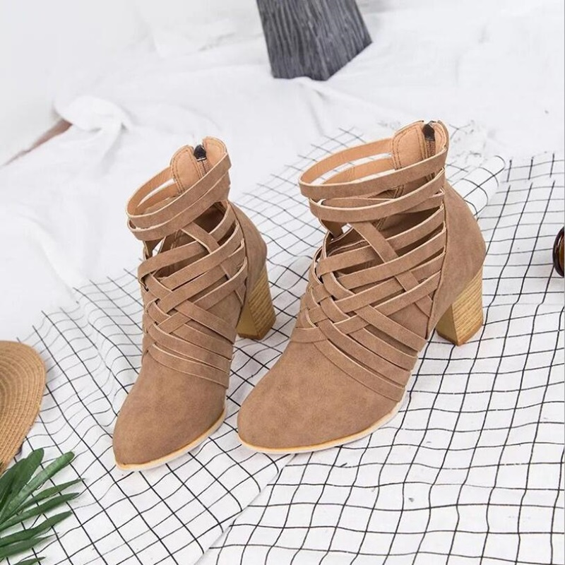 2018 autumn boots women suede sexy shallow boots top quality med heels ankle boots camel color casual shoes narrow band deco in Ankle Boots from Shoes