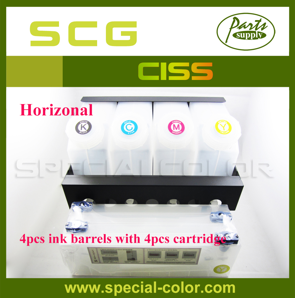 Horizontal CISS! 4pcs Ink Barrels with 4pcs refill ink cartridge 220ml for Roland/Mimaki/Mutoh (4X4) ink pump for roland sj640 ra640 re640 re540 fh740 vs300 vs540 vs640 vp300 vp540 xf640 rf640 rfa640 roland ink pump u type