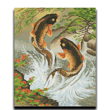 Cross stitch embroidered diamond swiming Carp full filled with 3D resin particles Square painting Diamond Diy Drawing