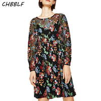 Spring New European Flower Embroidered Lady Dress Two Pieces Dress Women Vintage Boho Dress C8086