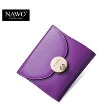 NAWO 2016 Candy Color Genuine Leather Women Wallets Brand Purses Female Button Short Wallet With Coin Pocket Ladies Mini Wallets