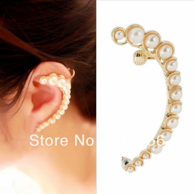 Punk Nice Fashion Luxurious Full Imitation Pearl Earrings Gold Color Half Moon Ear Cuff For