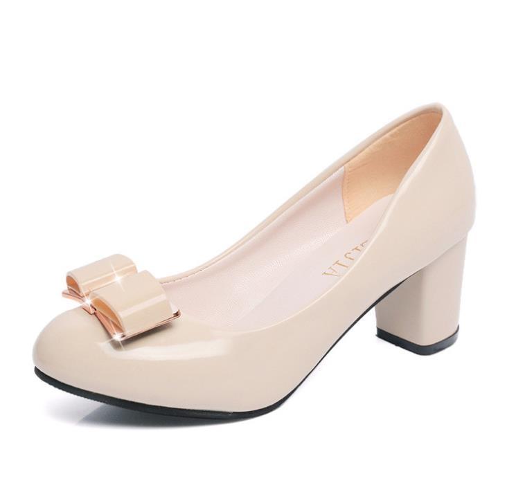 Beige De Avec Emplois noir Banlieue rose Profonde 2018 En Verni Chaussures Grossier Cuir Femmes Bouche Peu Nouvelles Dame Boucle fqZOExaqw