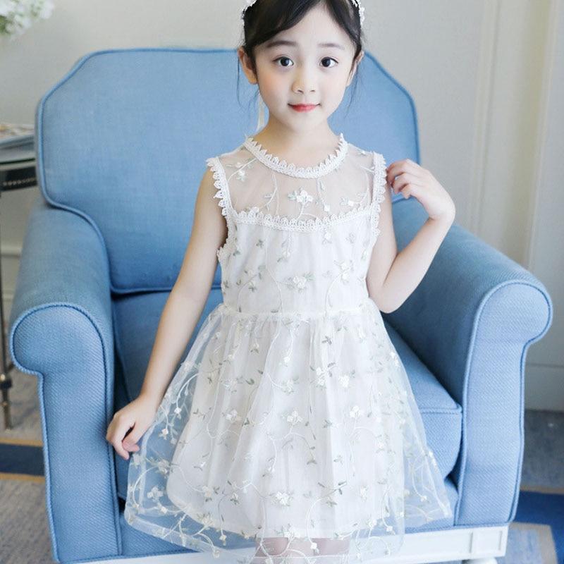 a9795376e Chicas de verano vestidos de princesa para 3 4 5 6 7 8 9 10 12 14 años, los niños  ropa de bebé niñas vestidos Elegantes sin mangas de encaje kdis