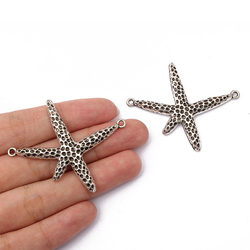 20pcs Starfish Connector Charms Pendants For Bracelet Necklace Jewelry Making Findings 49*44mm