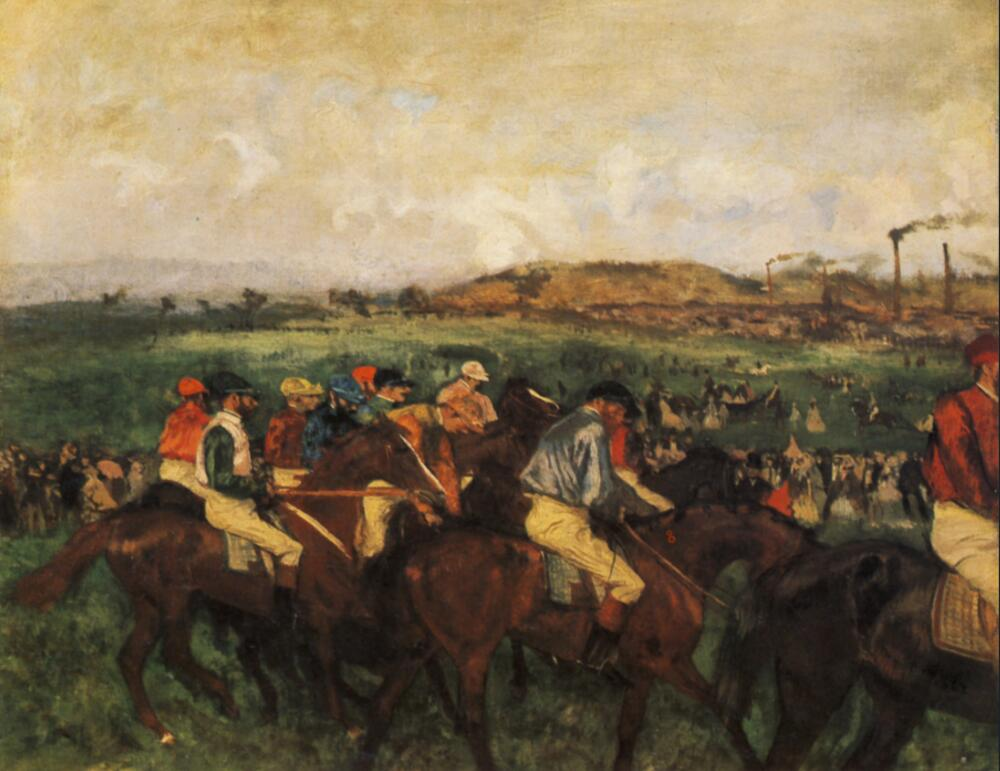 High quality Oil painting Canvas Reproductions Gentlemen Jockeys before the Start (1862)  By Edgar Degas hand paintedHigh quality Oil painting Canvas Reproductions Gentlemen Jockeys before the Start (1862)  By Edgar Degas hand painted