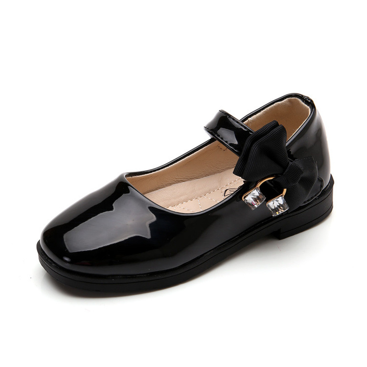Girls Single Shoes For Children Fashion Leather Princess Shoes Kids Tenis Infantil With Bow Flat ChildrenS Shoes Student