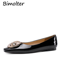Bimolter Genuine Leather Chic Styles 2019 Brand New Mature Office Lady Fashion Women's Flats Classic Elegant Women's Shoes FC165