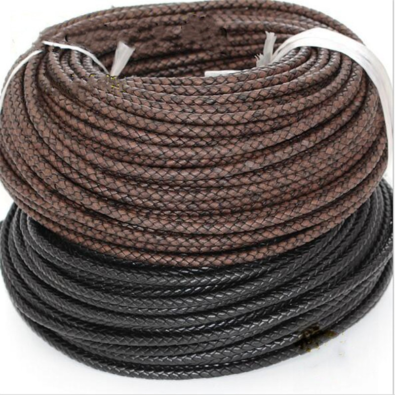 2 meters of cord plaited Leather 3mm colour NEGRO.Leather,Leder,Leather,Cuir