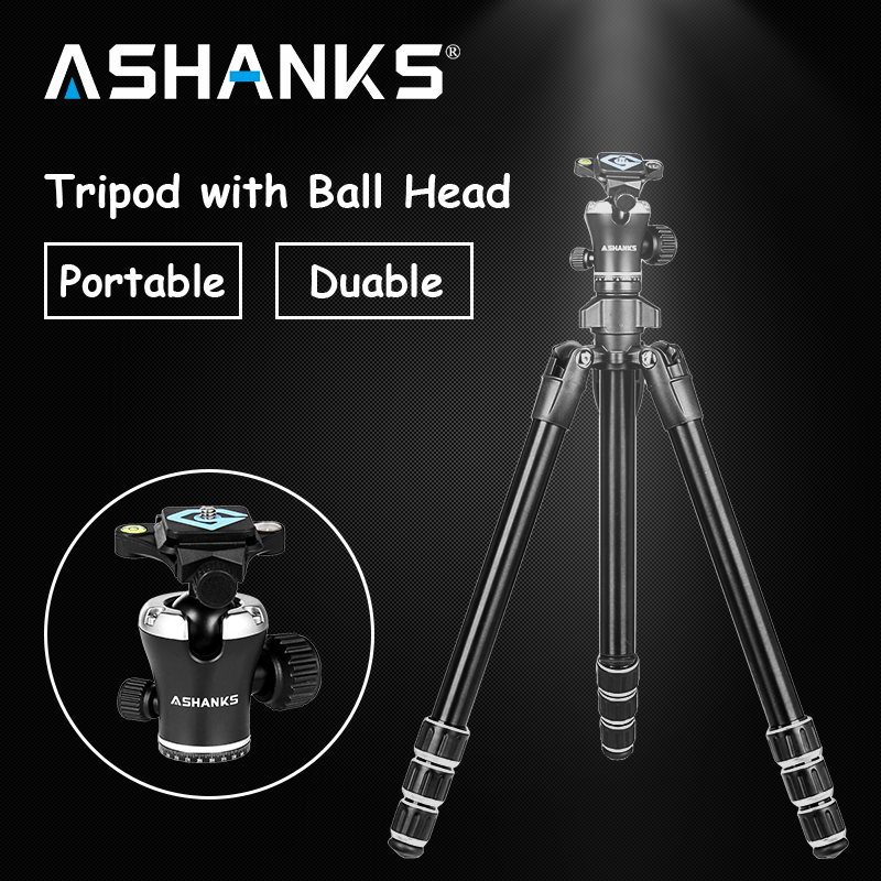ASHANKS Professional Portable Travel Aluminum Camera Tripod with Ball Head for SLR DSLR Digital Camera for Photography with Bag ashanks professional aluminum camera tripod mini portable monopod with ball head for dslr photography video studio load 10kg